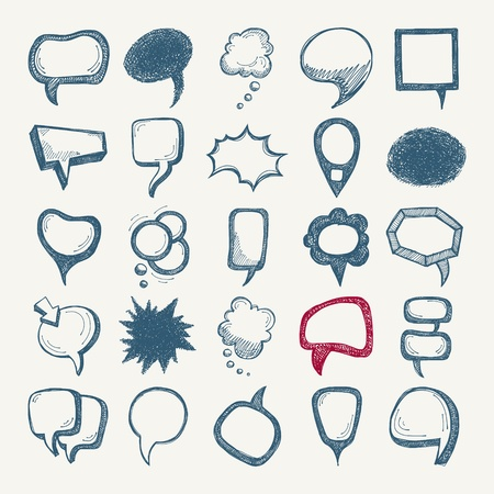 speech bubble: 25 sketch different speech bubble collection