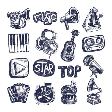 音楽アイコン要素コレクションをスケッチします。