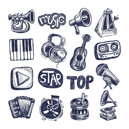 sketch music icon element collection Stock Vector - 18036440