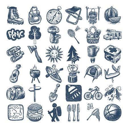 スケッチ落書きアイコン コレクション、ピクニック、旅行およびキャンプのテーマ