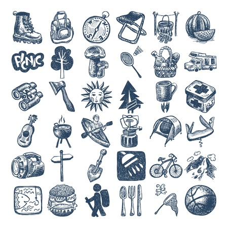 lazer: tema esboço coleção ícone arte, piquenique, viagem e camping