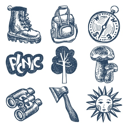 sketch doodle icon collection, picnic, travel and camping theme Stock Vector - 18036553