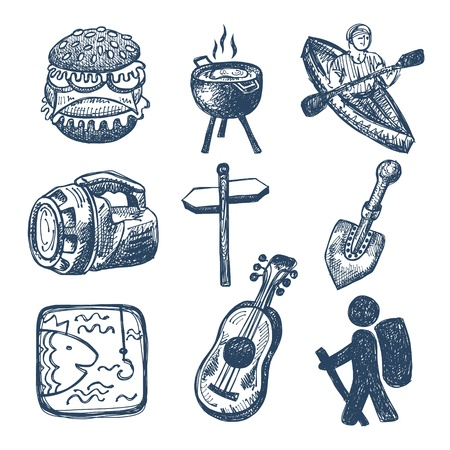 inc: sketch doodle icon collection, picnic, travel and camping theme Illustration