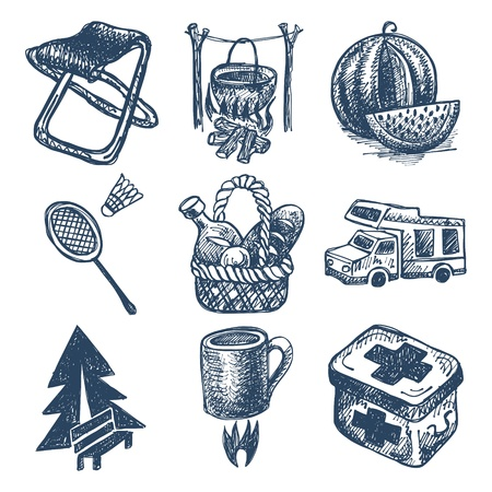 sketch doodle icon collection, picnic, travel and camping theme Vector
