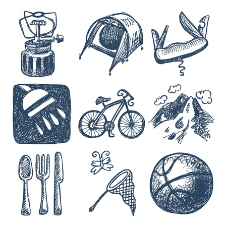 sketch doodle icon collection, picnic, travel and camping theme Stock Vector - 18051968
