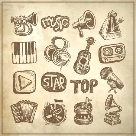 acorde�n: m�sica bosquejo icono de elemento de la colecci�n en el fondo del grunge