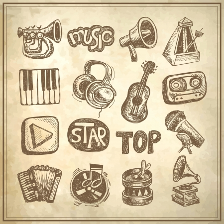 drawing instrument: sketch music icon element collection on grunge background
