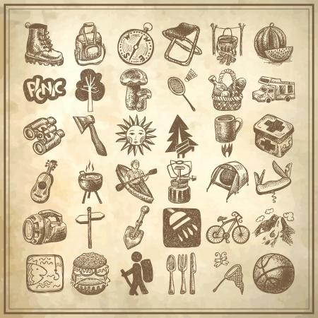 スケッチ落書きアイコン コレクション、ピクニック、旅行、グランジ背景にキャンプのテーマ  イラスト・ベクター素材
