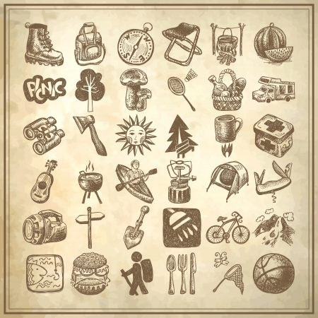 sketch doodle icon collection, picnic, travel and camping theme on grunge background Illustration