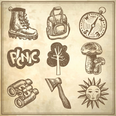 sketch doodle icon collection, picnic, travel and camping theme on grunge background Vector