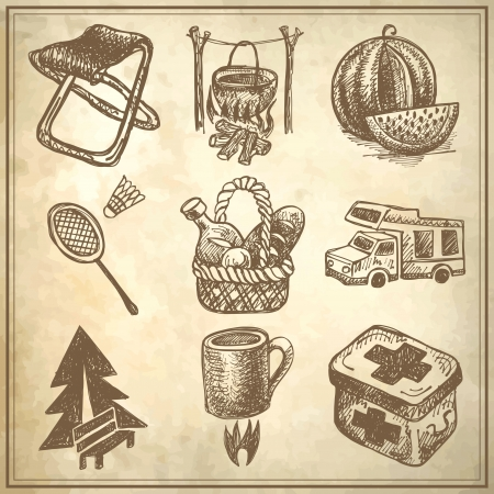 sketch doodle icon collection, picnic, travel and camping theme on grunge background Stock Vector - 18036555