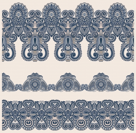 floral tracery: collection of seamless ornamental floral stripes Illustration