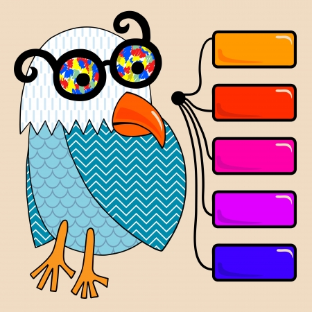 homepage: doodle vintage cartoon comic funny bird with colored glasses and button Illustration