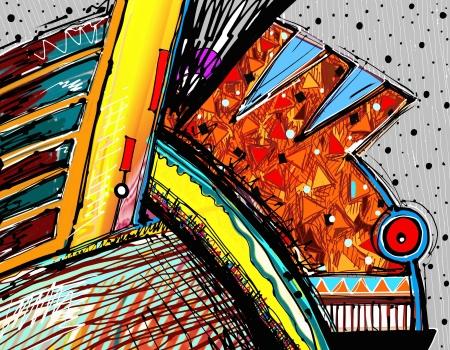 CUADROS ABSTRACTOS: ilustración original del arte abstracto pintura digital Foto de archivo