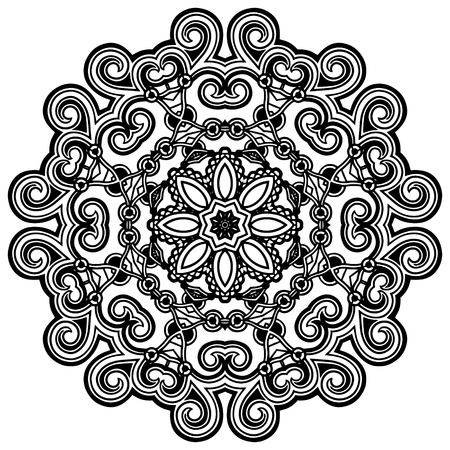 embroidery designs: Circle lace ornament, round ornamental geometric doily pattern