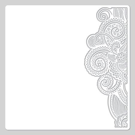 抽象的なモダンな花柄ホワイト紙カット デザイン 写真素材