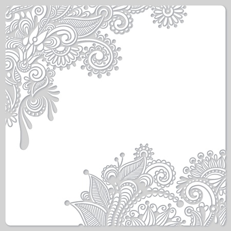 abstract modern floral white paper cut design