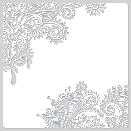 veters: abstracte moderne bloemen wit papier gesneden ontwerp Stockfoto