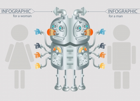 robot infographic design gender statistic photo