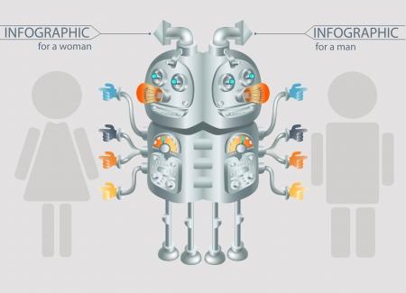 robot infographic design gender statistic Stock Photo - 18391531