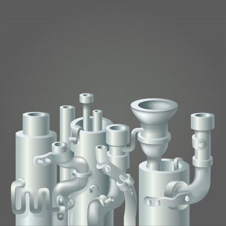pipework: Industrial metal  pipe stack design, ecology background