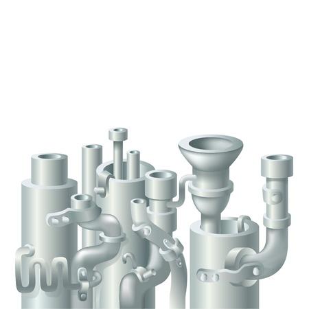 turbina de vapor: Metal industrial bajante diseño, tema de la ecología