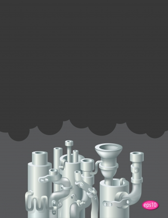 pipework: Industrial metal  pipe stack design, theme of ecology