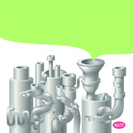 steam turbine: Industrial metal  pipe stack design, theme of ecology
