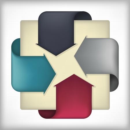 corner tab: ribbon arrow element