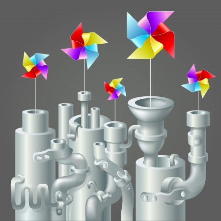 Industrial metal pipe stack with bright colorful recycle paper windmill, ecology concept, clean energy