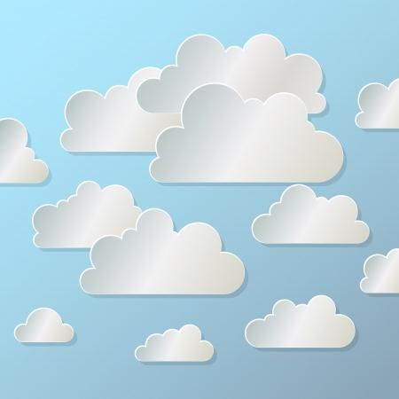 青い背景に白い紙雲 写真素材