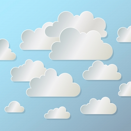 origami pattern: white paper cloud  on  blue background Stock Photo