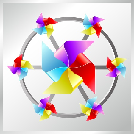 wind vane: recycle paper colorful windmill Stock Photo