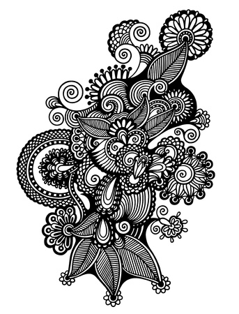 original hand draw line art ornate flower design. Ukrainian traditional style Vector