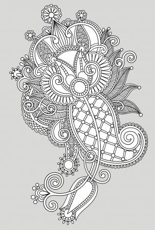 style: original hand draw line art ornate flower design. Ukrainian traditional style Illustration