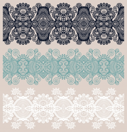 lace pattern: collection of seamless ornamental floral stripes Illustration