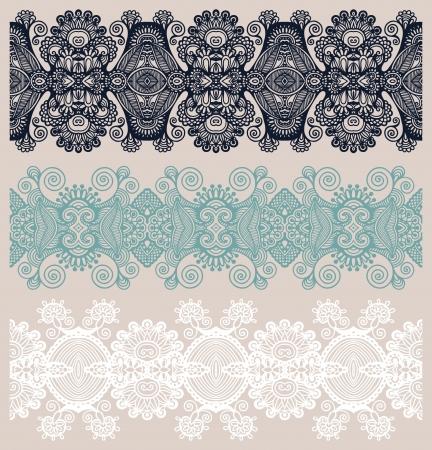 floral carpet: collection of seamless ornamental floral stripes Illustration