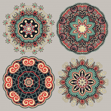 round: Circle ornament, ornamental round lace collection Illustration