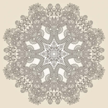 Circle lace ornament, round ornamental geometric doily patter Vector