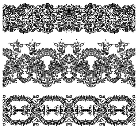 collection of seamless ornamental floral stripes Stock Vector - 18929542