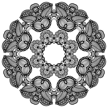 Circle lace ornament, round ornamental geometric doily pattern Vector