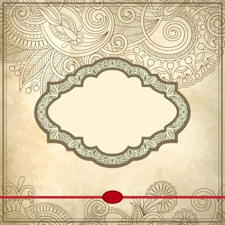 Ornamental floral pattern with place for your greetings, invitations, announcements  in grunge background Vector