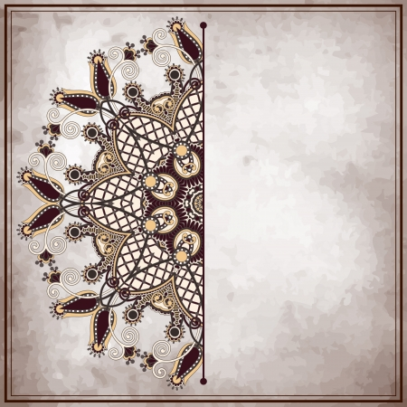 flower circle design on grunge background with lace ornament. Ukrainian pattern on old paper vintage background. Vector