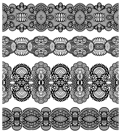 tissue texture: collection of seamless ornamental floral stripes Illustration