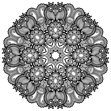 Circle lace ornament, round ornamental geometric doily pattern Stock Vector - 18929646