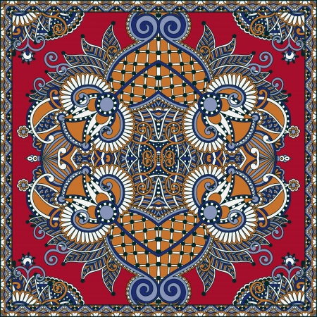 neck scarf: Traditional ornamental floral paisley bandanna. You can use this pattern in the design of carpet, shawl, pillow, cushion Illustration
