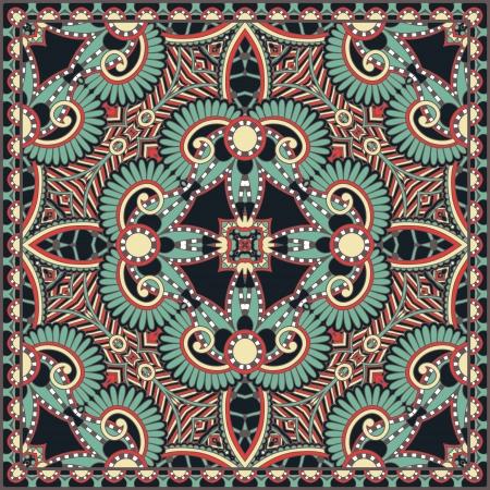 伝統的な観賞用花のペイズリー バンダナ。カーペット、ショール、枕、クッションの設計ではこのパターンを使用することができます。