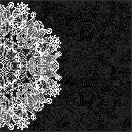 花の背景を持つ黒と白の装飾的なサークル テンプレート