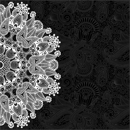 black and white ornamental circle template with floral background