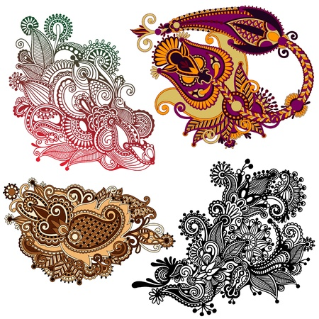 filigree: original hand draw line art ornate flower design. Ukrainian traditional style Illustration